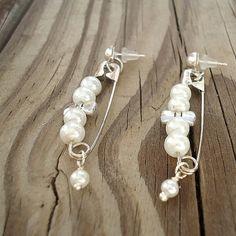 Safety Pin Earrings Pearl Jewelry Silver Jewellery by cdjali