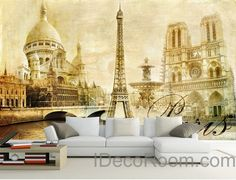 3D Retro Paris Tower Wall paper Wallpaper Wall Decals Wall Art Print Mural Home Decor Indoor Bussiness Office Deco