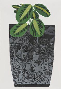 Jonas Wood (at the David Kordansky Gallery), Black Landscape Pot with Kiwi Plant I, 2014