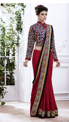 Red Sari with heavy embroidered blouse and border Red georgette sari with heavy embroidered blouse and Comes with matching unstitched blouse Saree Jacket Designs, Saree Blouse Neck Designs, Fancy Blouse Designs, Saree Wearing Styles, Saree Styles, Indian Gowns Dresses, Indian Outfits, Indian Attire, Indian Wear