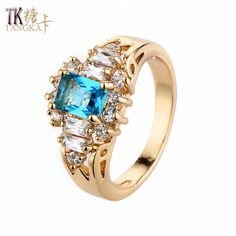 TANGKA top luxury fashion blue big zircon ring for ladies attending cocktail clothing accessories ring gold color ladies ring #Affiliate
