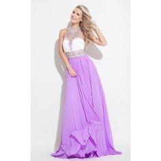 Rachel Allan 7160 Prom Dress 2016 Long High Neckline Sleeveless ($358) ❤ liked on Polyvore featuring dresses, gowns, formal dresses, long evening dresses, long purple dress, formal gowns and prom dresses