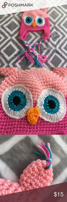 """Pink Owl Hat This is a pink knitted owl hat. Brand new, never used and in perfect condition. I'm not sure what size it would fit. But the width is 7 1/2"""" and the length from the top of the head to the bottom middle is 6"""" - This is laying flat and measured from the front. Accessories Hats"""