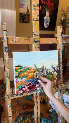 Diy Canvas Art, Acrylic Painting Canvas, Acrylic Art, Nature Oil Painting, Inspiration Art, Art Inspo, Art Lessons, Painting Lessons, Painting Tips
