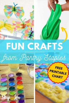 You won't believe all the craft recipes you can make from pantry staples. No need for elaborate craft supplies when these fun crafts can be made with items you probably already have at home! Easy Arts And Crafts, Fun Crafts For Kids, Craft Activities For Kids, Preschool Crafts, Kid Crafts, Homemade Watercolors, Liquid Food Coloring, Homemade Stickers, Food Insecurity