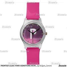 PRINTED LILAC PINK GEMSTONE MONOGRAM WRIST WATCH #gemstones #fashion #watch #accessory #gems #3d #geek #tech #jewel