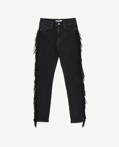 HIGH WAIST JEANS WITH FRINGE