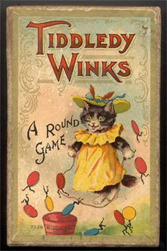 """Vintage game. """"Tiddledy Winks"""" with happy kitty"""