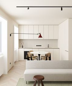 Very simple white kitchen in an open plan living space, feature lighting and minimalist furniture Minimalist Furniture, Minimalist Interior, Minimalist Bedroom, Minimalist Decor, Small Space Living, Small Spaces, Living Spaces, Interior Minimalista, Craftsman Kitchen