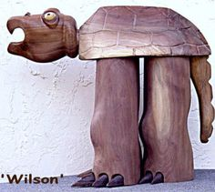 TREASURY ITEM - Carved Whimsical Turtle - Posable Head - Art Of William Andrew Haight USA via Etsy