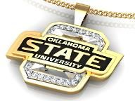 OSU necklace. Fantastic 14k Yellow Gold Oklahoma State University Pendant with Stunning Black Enamel.
