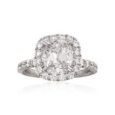 Henri Daussi 3.63 ct. t.w. Certified Diamond Engagement Ring in Platinum | #811169 @ ross-simons.com