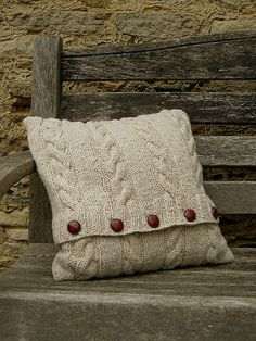 Hand knitted 'Burford' Cushion Cover