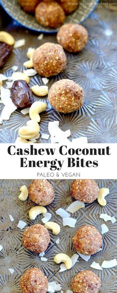 Cashew Coconut energy bites! Made with just a few simple ingredients they are healthy and delicious! Dairy-free, refined sugar free, gluten free, vegan and paleo! More