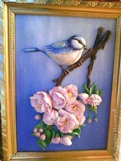 Декор предметов Картина панно рисунок Лепка Цветущая вишня Тесто соленое фото 15