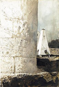 Andrew Wyeth (1917 — 2009, USA) Harbor House. 1985 watercolor on paper. 21.5 x 29.75 in. (54.61 x 75.57 cm.)