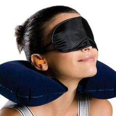 kathy Store INC 3 in 1 Travel Set Inflatable Neck Air Cushion Pillow  Eye Mask  2 Ear Plug Comfortable Business Trip ** You can find more details by visiting the image link.