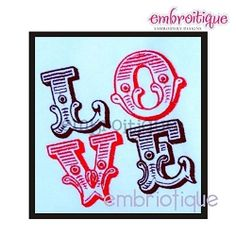 Love Line Word Block - 3 Sizes!   Words and Phrases   Machine Embroidery Designs   SWAKembroidery.com Embroitique