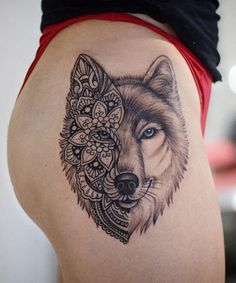 Mandala Wolf Tattoo Designs for Women, I Like the Placement