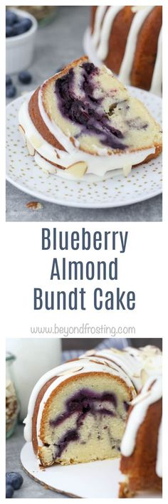 This Blueberry Almond Bundt Cake is a traditional pound cake filled with a homemade blueberry pie sauce and topped with a cream cheese glaze and almonds.