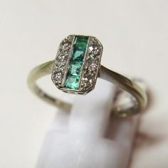 Vintage 1930's Art Deco 18ct Gold and Platinum Emerald and Diamond Ring - Jewellery & Watches - Shop - female jewelry, high end jewelry, diamond jewelry stores *sponsored https://www.pinterest.com/jewelry_yes/ https://www.pinterest.com/explore/jewelry/ https://www.pinterest.com/jewelry_yes/personalised-jewellery/ http://tjmaxx.tjx.com/store/shop/jewelry-accessories/_/N-66844292?originalFilterState=66844292