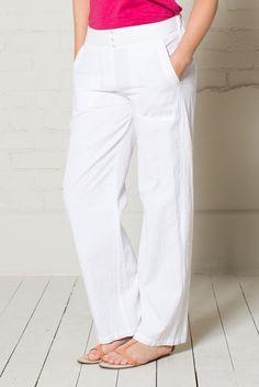 Plain Cotton Trousers White