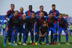 FC Barcelona line up prior to start the La Liga match between Deportivo Leganes and FC Barcelona at Estadio Municipal de Butarque on September 17, 2016 in Leganes, Spain.