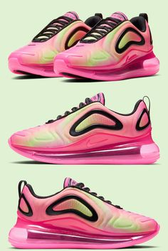 The Spring/Summer days are just around the corner, and if anyone has been excited about the warmer climate conditions, it's been Nike's Sportswear division as many of their recent sneaker renditions have reflected palettes symbolic of the seasons. Neon Green, Pink And Green, Summer Days, Spring Summer, Air Max Sneakers, Sneakers Nike, Liner Socks, Air Max 270, Pink Fashion