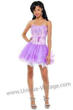 Lilac & White Sequins & Layered Tulle Corset Lace Up Short Homecoming Dress - XS - 3X