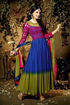 Latest Stylish Embroidered Designer Anarkali frocks fancy Pishwas Dress Designs for women 2014-2015 (8)