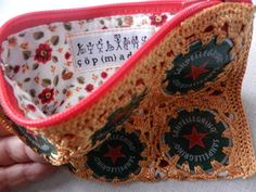 the inside of one of our crocheted bottle cap wallets 20 TL, 7 euro Bottle Caps, Euro, Wallets, Lunch Box, Bags, Handbags, Purses, Bento Box, Bag