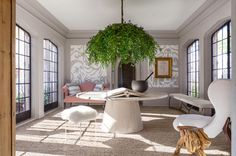 Lake Forest Showhouse Garden Room | Michael Del Piero  Subtle yet intricate design Love greenery  textures  Dado insets  Large Circle table