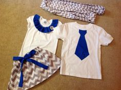 Custom made Little sister skirt and top and big brother matching outfits Matching Sister Outfits, Twin Outfits, Baby Boy Outfits, Kids Outfits, Twin Baby Clothes, Applique Onesie, Valentines Outfits, Diy Clothing, Baby Sewing