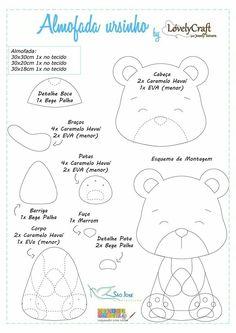 Felt Crafts Patterns, Bear Felt, Quiet Book Patterns, Bear Crafts, Clouds Pattern, Felt Mobile, Diy Crafts For Gifts, Hand Embroidery Designs, Felt Toys