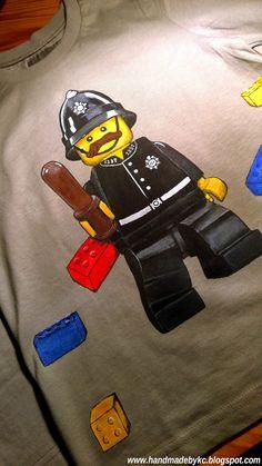 t-shirt for a child lego policeman #diy #handmade #lego