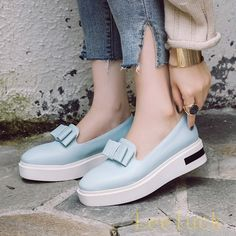 Womens Comfort Bowknot Creepers Low Heels Slip On Platform Boat Shoes Loafers