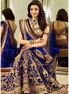 Kajal Aggarwal In Royal Blue Georgette Heavy Designer Lehenga Choli-DJ-47-C