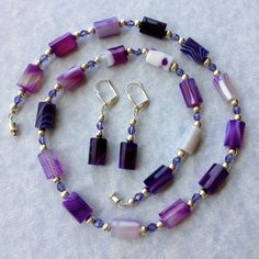 Purple Agate Necklace and Earring Set - $42