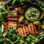 BLT Salmon Salad with Creamy Avocado Green Goddess Salad