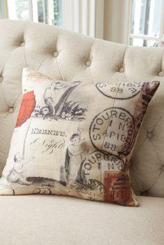 Carte Postale Pillow - Feather Down Pillows, Accent Pillows, Decorative Pillows   Soft Surroundings