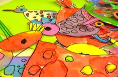 Bird Art Lesson - not strictly for the birds :) Note to self: purchase Blick's (vibrant!) Liquid Watercolor. This lesson also links to a lot of cool art projects categorized by age.
