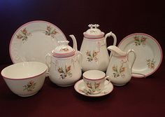 "1870's Unmarked Porcelain ""Moss Rose"" 24-Piece Luncheon/Dessert Set"