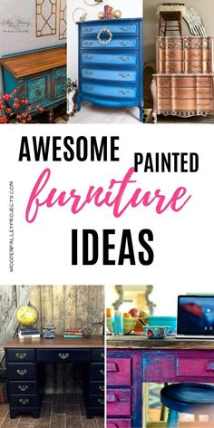Check out these absolutely awesome painted furniture ideas. DIY painting inspirations for your upcycling furniture projects. Various techniques including decoupage, paint layering, metallic paint and more! Click through for more details. Metallic Painted Furniture, Painted Chairs, Paint Furniture, Furniture Projects, Furniture Makeover, Dresser Inspiration, Bedding Inspiration, Furniture Inspiration, Laminate Cabinet Makeover