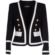 Balmain Blazer (€1.235) ❤ liked on Polyvore featuring outerwear, jackets, blazers, black, pocket jacket, balmain blazer, long sleeve blazer, long sleeve jacket and black cotton blazer