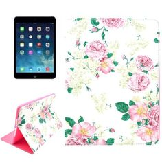 For+iPad+Air+2+/+iPad+6+Rose+Pattern+Smart+Cover+Leather+Case+with+Holder+&+Card+Slots
