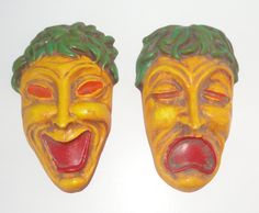 Tradegy and Comedy Chalkware Wall Plaques. Weird Chalkware by Cosasraras on Etsy