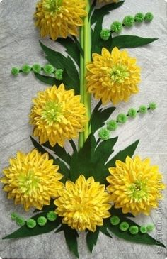 Quilled yellow flowers via stranamasterov.ru