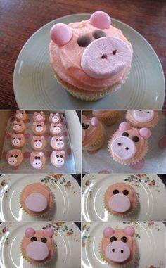 Cupcake en forme de cochon  -Très amusant à faire à la maison avec les enfants !