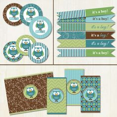 It's+a+Boy+Mod+Owl+Baby+Shower+Printable+by+TracyAnnPrintables,+$14.95