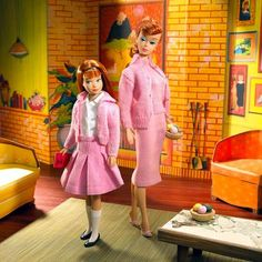 Barbie and Skipper in their 1960s dream house